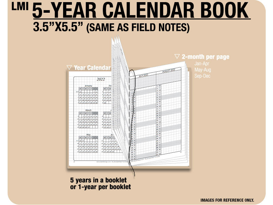 field notes 5 year calendar book 2019 2020 2021 2022 2023 inserts refills filofax binder collins