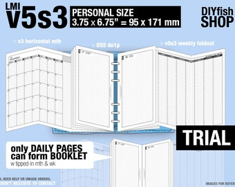 Trial [PERSONAL v5s3 w ds5 do1p] October - December 2021 - Filofax Inserts Refills Printable Binder Planner Midori.