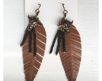 Norah's Drops — bull head antiqued copper black seed bead stalks brown leather feather tassel nashville country girl boho western