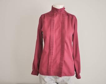 fabcbe0c34901 Vintage 1970 s Cranberry Dark Pink Long Sleeve Pleated High Collar Mock  Turtle Neck High Collar Blouse Button Shirt Size Medium Large School