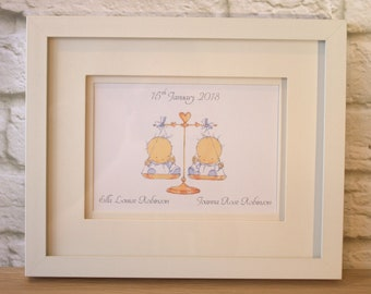"""White Framed Personalised New Baby Twins Printed Picture 11"""" x 9"""""""
