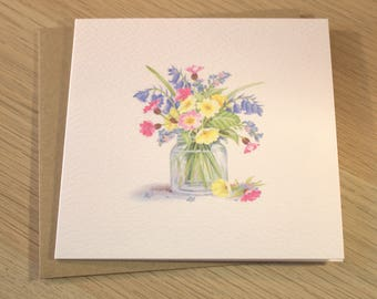 "Spring Flowers Notelet 5"" x 5"""