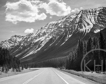 Through the Mountains, Alberta, Canada, Black and White Photographic Print