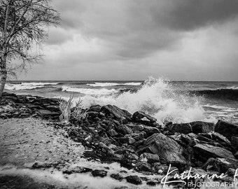 Waves Crashing, Lake Ontario, Canada, Photographic Art Print
