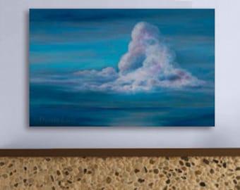 EXTRA LARGE Wall Art: Cloud & Ocean canvas giclee print of acrylic painting in blue, teal, pink, aqua, peach by Kauai Hawaii artist Donia