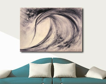 WAVE ABSTRACT art large contemporary canvas giclee print of charcoal drawing in black, beige, tan, taupe by Kauai Hawaii artist Donia Lilly