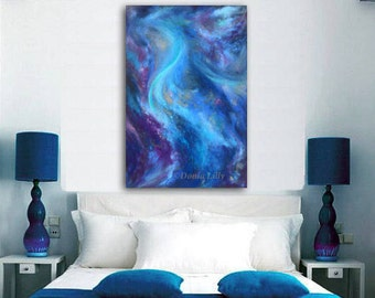 OVERSIZED canvas giclee print of original pastel painting in cobalt blue, aqua, indigo, amethyst purple & gray by Kauai Hawaii artist Donia