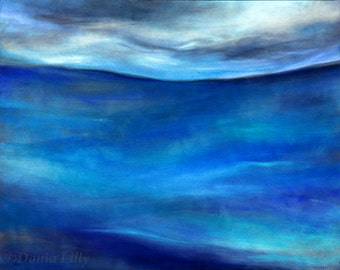 Seascape metal art print of cobalt, teal, turquoise, blue, aquamarine pastel painting by Kauai, Hawaii artist Donia Lilly: Andrew's Ocean