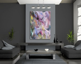 EXTRA LARGE ABSTRACT art pink, gray, blue, green canvas or paper giclee print of pastel contemporary painting by Hawaii artist Donia Lilly