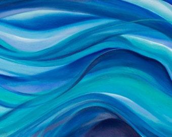 Mermaid Dreams ABSTRACT ART metal print summer decor turquoise, indigo, aquamarine, teal, green, periwinkle, gray: Hawaii artist Donia Lilly