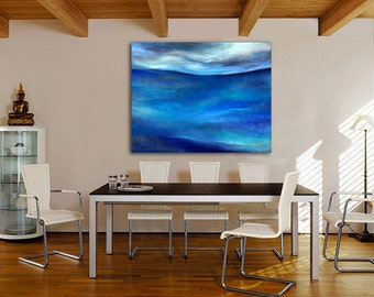 OVERSIZED Ocean Canvas or Paper Giclee: abstract pastel painting in cobalt, sky & midnight blue, gray, teal- Kauai Hawaii artist Donia Lilly