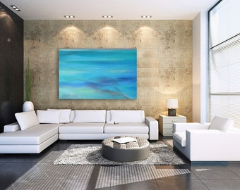 EXTRA LARGE Ocean abstract canvas giclee (print) of sea blue, turquoise, aqua & teal pastel painting by Kauai, Hawaii artist Donia Lilly