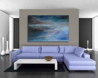 OVERSIZED Abstract Art: canvas or paper giclee (print) of pastel painting- blue, gray, purple, teal, turquoise by Kauai, Hawaii artist Donia