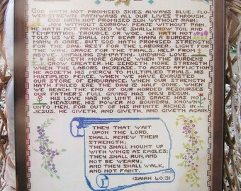 Vintage Large Framed with Glass Cross Stitch Prayer Sampler Dated 1967 Flowers Isaiah 40:31 Retro Embroidered Motto Sampler
