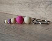 Keychain Felt Beads Pocket Pendant Wood