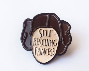 Enamel Pin Self-rescuing Princess - Enamel lapel pin - Feminist Enamel Pin - Star Wars - Princess Leia - Mothers Day - Feminist gift
