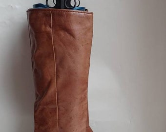1980's vintage boots brown leather boots knee high boots vintage leather boots high heeled boots pull on boots size 36 (UK 3)