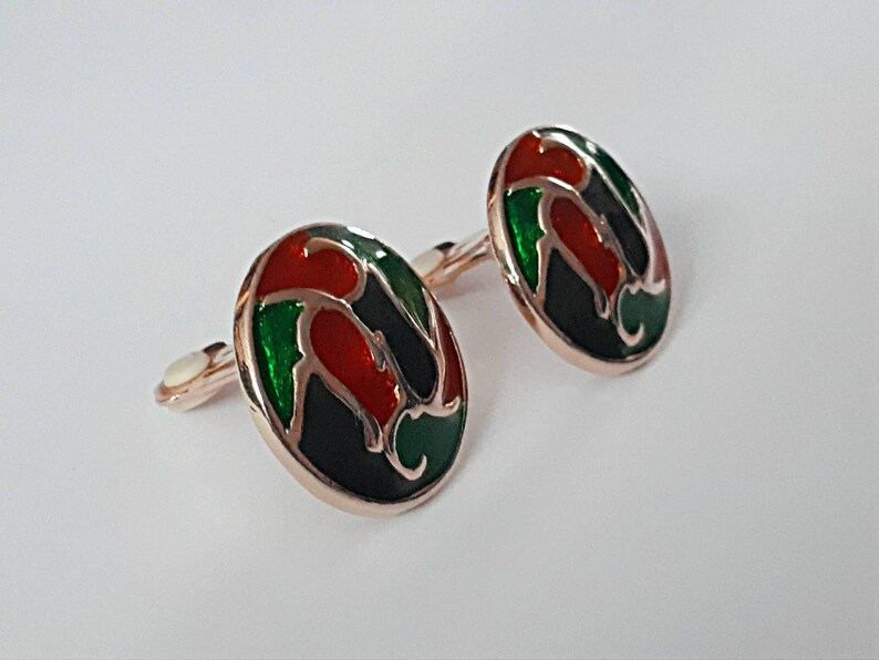 1970/'s vintage earrings 70/'s clipon earrings 60/'s patterned earrings ladies earrings retro earrings costume jewellery