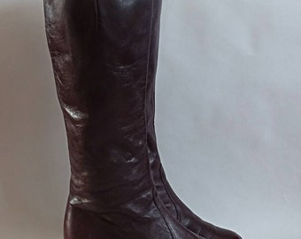 Chestnut brown boots knee high boots 1980's vintage boots high heel boots 80's retro boots ladies vintage boots size 5