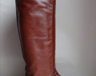 Brown leather boots 1980's vintage boots leather boots knee high boots pull on boots 80's retro boots size 36 (UK3)