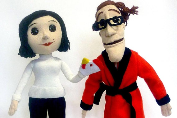 Other Coraline S Parents Plush Dolls With Button Eyes Etsy