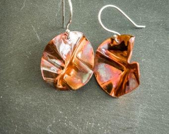 Handmade flame painted copper earrings niobium earwires orange brown copper colors OOAK free shipping