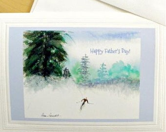 Father's Day Card: Watercolor reproduction/Downhill Skier/Printed Textual Greeting