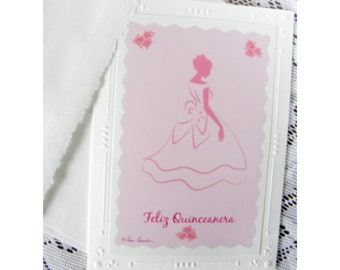 Quinceanera Greeting Card: Pink; Feminine; Blank Inside created by Pam Ponsart of Pam's Fab Photos