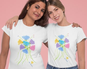 Womens Crewneck T-shirt: Watercolor print by PonsART for Pam's Fab Photos