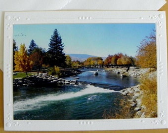 Truckee River, Reno, Nevada: Photo Greeting Card; Blank Inside; Handcrafted by Pam Ponsart for Pam's Fab Photos