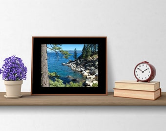 """Blue Wall Art: 11"""" by 14""""; Frame-ready; Lake Tahoe photograph by Pam Ponsart of Pam's Fab Photos"""
