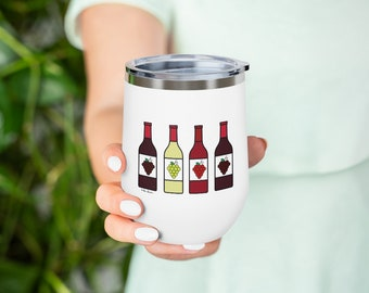 Decorative Insulated Wine Tumbler: 12 oz./Stainless Steel; 3 Colors by Pam Ponsart