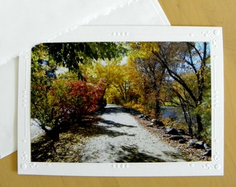 Autumn Glow River Walk: Photo Greeting Card by Pam Ponsart for Pam's Fab Photos