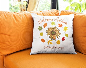 Square Autumn Accent Pillow: 3 sizes; Polyester; by Pam Ponsart for Pam's Fab Photos