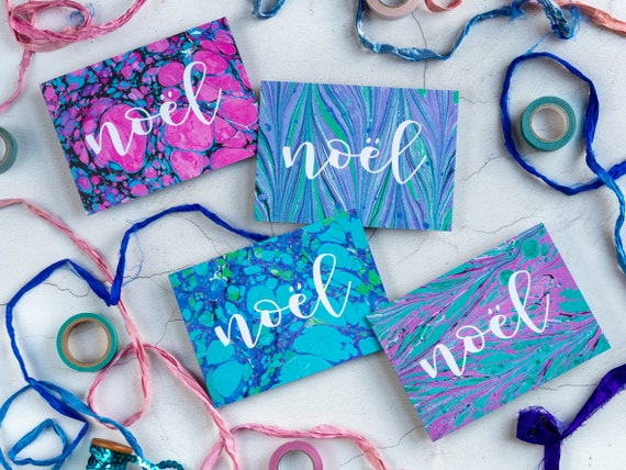 Marbled Christmas Cards - 'Noel' - Individual or Pack - Pink, Purple, Blue Original Colourful Designs - Contemporary Seasonal Cards - Blank