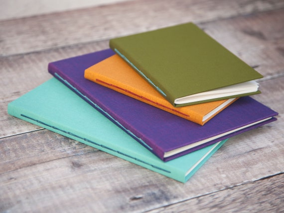 Personalised Fabric Journal - Hand Bound Colourful Bespoke Notebook - Pick Your Own Colour Combination - Free Personalisation!