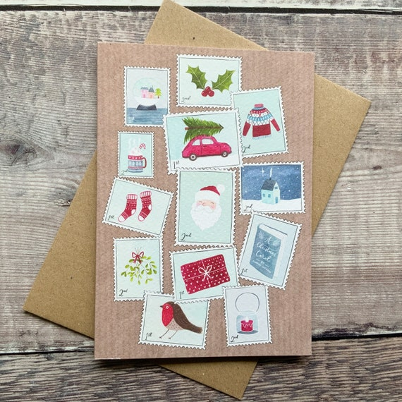 Illustrated Christmas Postage Stamp Card, Single or Pack of 4 or 8, Ref: CH9