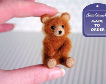 Ginger brown teddy bear miniature OOAK Needle felted soft sculpture original handmade for doll house / by SaniAmaniArt
