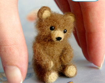 Brown teddy bear miniature OOAK Needle felted soft sculpture original handmade for doll house / by SaniAmani