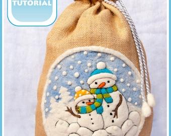 PDF Tutorial Santa Christmas sack snowman How To Felt and sew instructions / Instant Download / Digital Tutorial / Needle Felting SaniAmani