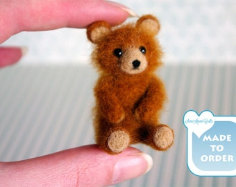 Ginger brown teddy bear miniature OOAK Needle felted soft sculpture original handmade for doll house / by SaniAmani