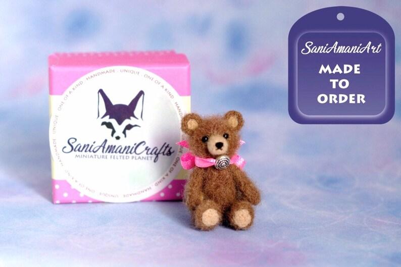 OOAK Needle felted teddy bear miniature original handmade all image 0