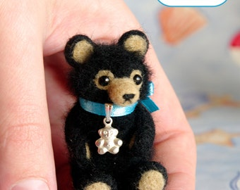 Black teddy bear miniature OOAK Needle felted soft sculpture original handmade for doll house / asia / by SaniAmani
