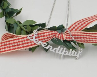 Personalized Silver sentance necklace-word necklace-you can write any sentance-Christmas gift-gift for Mom