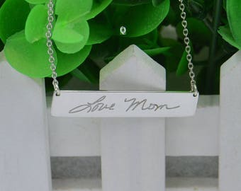 Handwriting necklace-Silver handwriting gift-bar necklace-Handcraft jewelry-Christmas gifts for Mom,Family