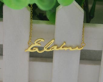 Memorial jewelry-signature jewelry-actual name necklace,925 silver plated gold,gift for lover,friend
