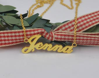 Name plate necklace gold name jewelry-custom any name-Personalized Bridesmaid Gift,Mom necklace