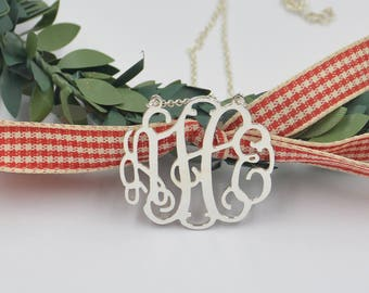 925 sterling silver monogram necklace-monogram initials necklace-any initials-Personalized monogrammed gift