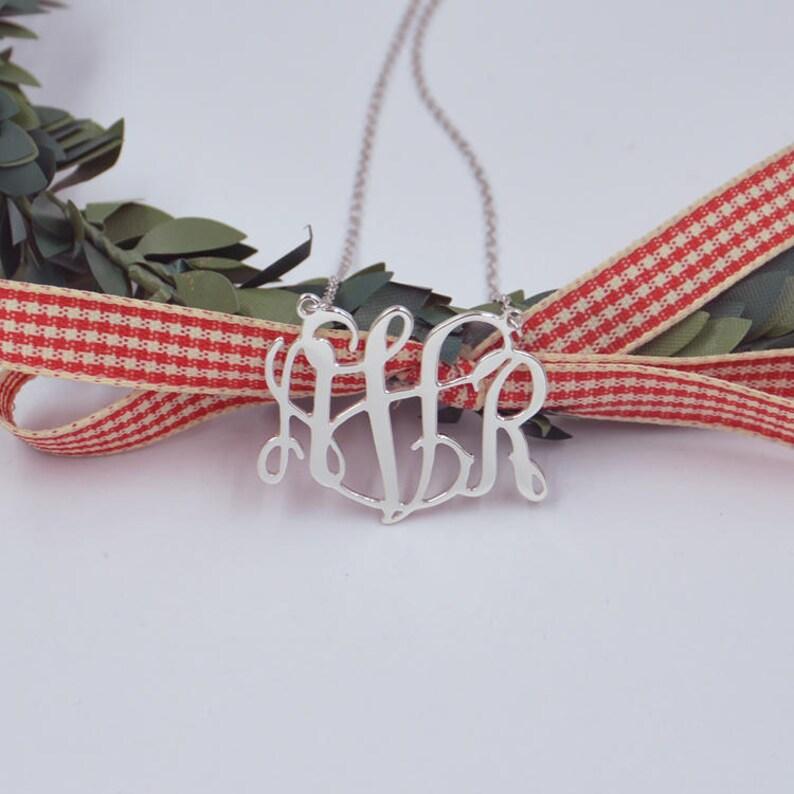 Sterling silver monogram necklace-monogrammed gifts-monogram image 1