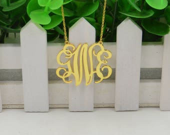 Teacher Christmas gifts-monogram necklace-gold monogrammed gift-monogram jewelry-personalized Christmas necklace